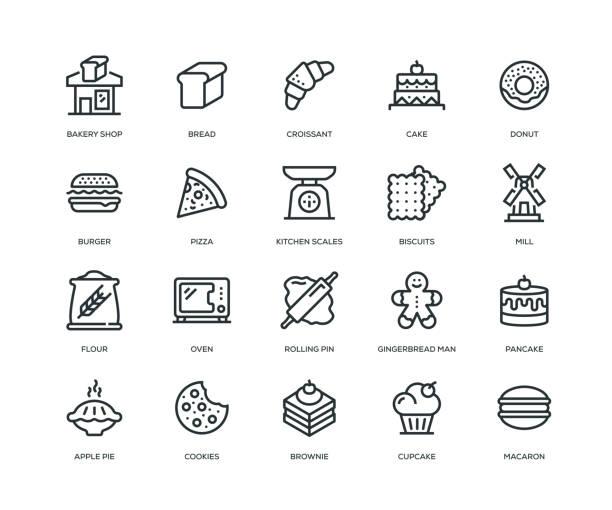 bäckerei icons - line serie - mehl stock-grafiken, -clipart, -cartoons und -symbole