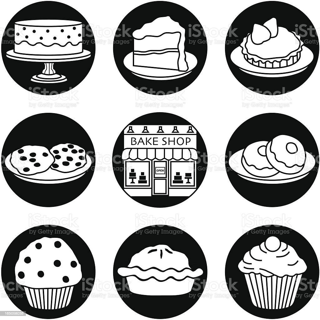 Bakery icons reversed royalty-free stock vector art
