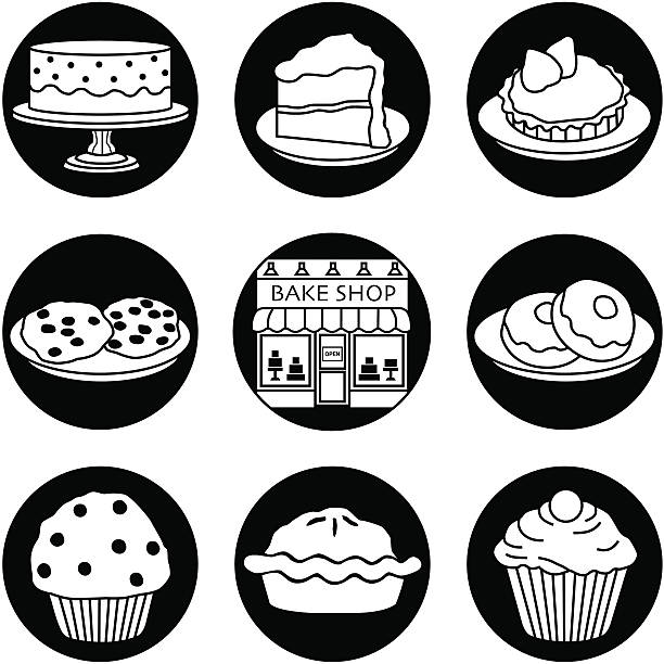 Bakery icons reversed vector art illustration