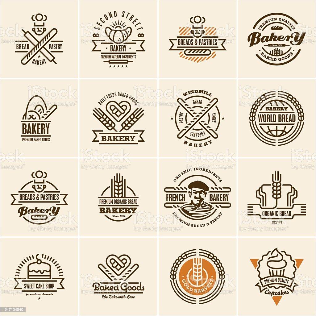 bakery icons set, bakery labels vector art illustration
