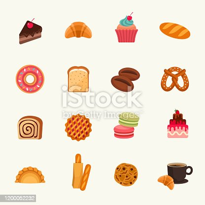 Bakery goods vector illustration set