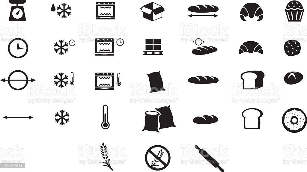 Iconos de panadería - ilustración de arte vectorial