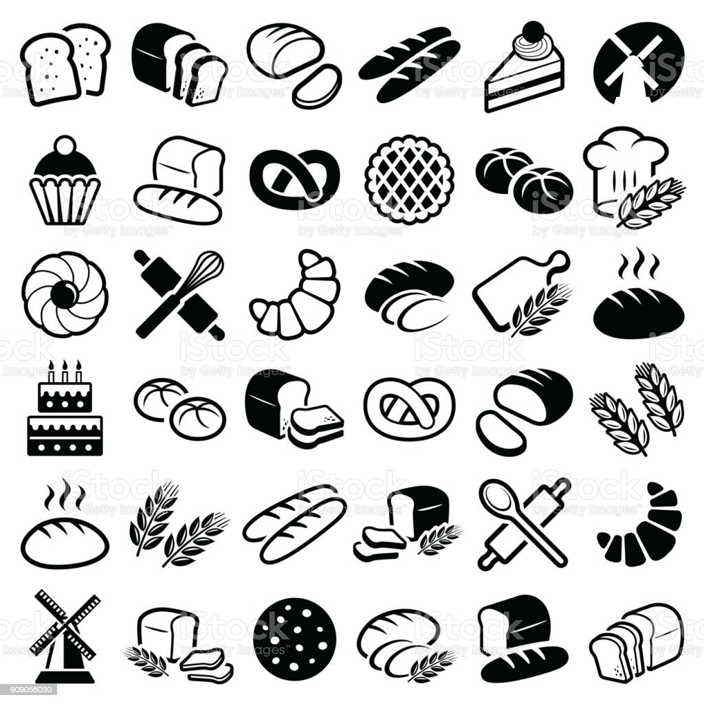 Bakery icons royalty-free bakery icons stock illustration - download image now