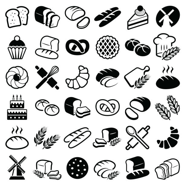 Bakery icons Bakery icon collection - vector outline illustration and silhouette cooking silhouettes stock illustrations