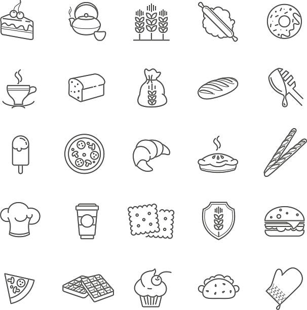 bakery icons, vector stock bakery icons, vector stock for your design pastry dough stock illustrations