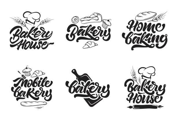 illustrations, cliparts, dessins animés et icônes de boulangerie icontypes. maison de boulangerie, pâtisserie maison, icônes boulangerie mobile en lettrage de style. illustration vectorielle. - boulanger