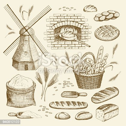 Vector hand drawn bakery illustration collection. Windmill, oven, bread, basket, flour, wheat.