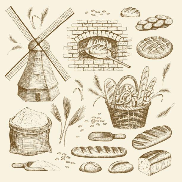 illustrazioni stock, clip art, cartoni animati e icone di tendenza di bakery illustration. - pane forno