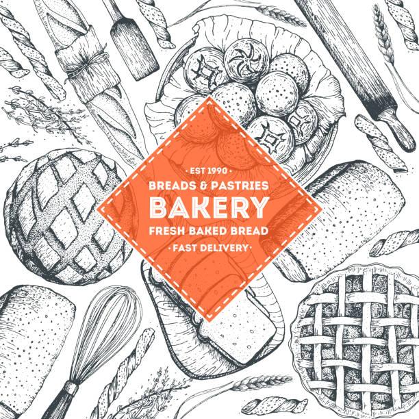 illustrations, cliparts, dessins animés et icônes de illustration de la boulangerie. cadre vintage avec pain, pain grillé, tarte, petits pains et croissant. illustration vectorielle de style gravé. - boulanger