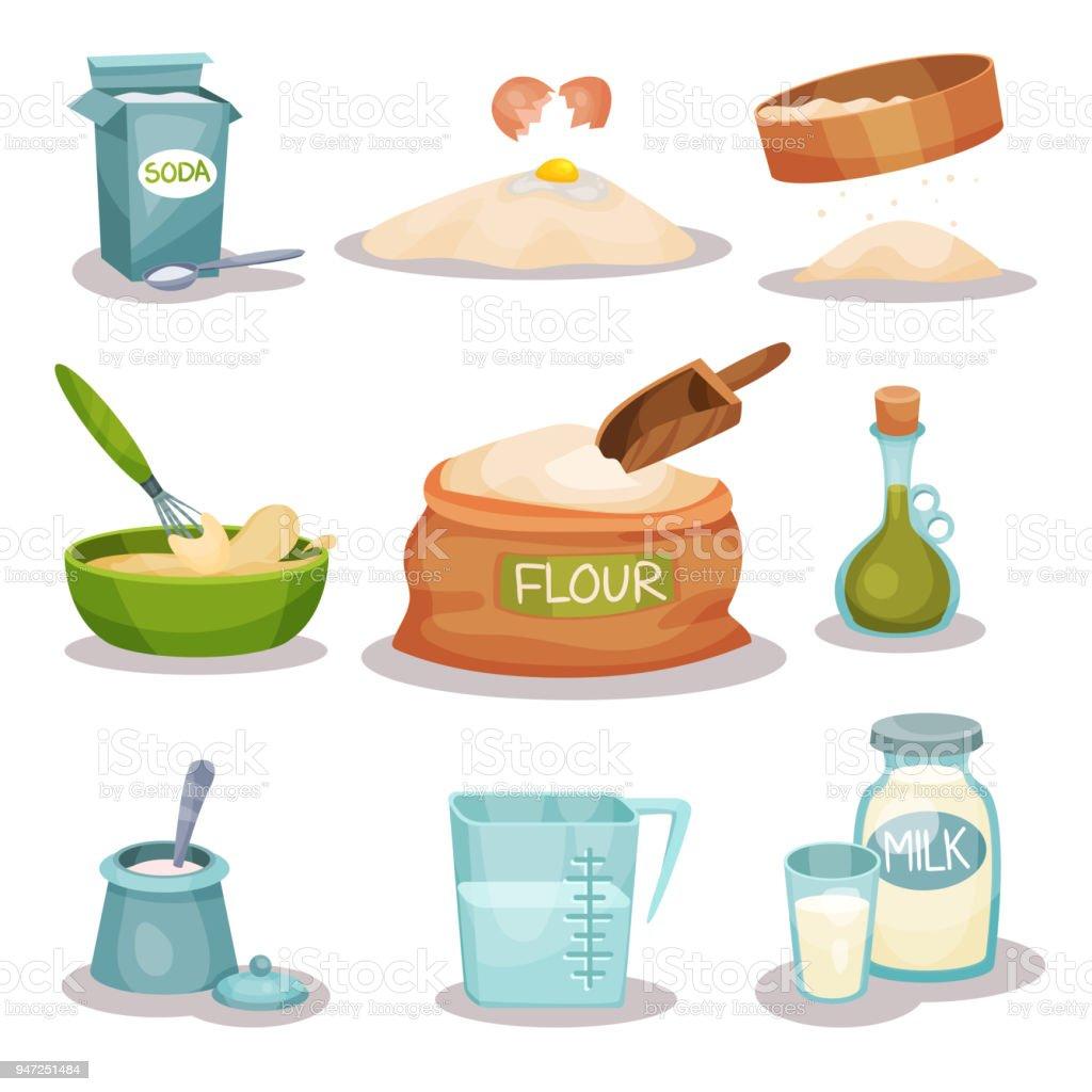 Bäckerei Zutaten Set Küchenutensilien Und Produkte Zum Backen Und ...