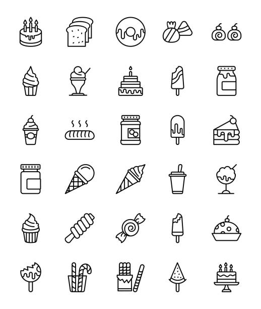 bakery items line icons pack - cinnamon roll stock illustrations, clip art, cartoons, & icons