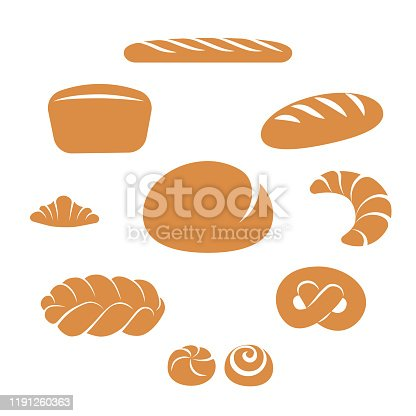 Simple flat bakery items set isolated on white background. Bread assortment vector illustration