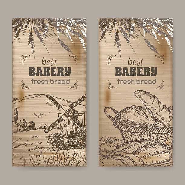 2 bakery label templates with field, windmilland bread on wood Set of 2 bakery label templates with medieval windmill, wheat and bread on wooden background. Great for bakery and bread shop ads, brochures, labels. bread backgrounds stock illustrations