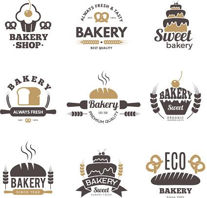 Bakery labels. Cooking symbols kitchen vector illustrations for logo design