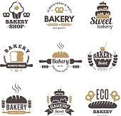Bakery labels. Cooking symbols kitchen vector illustrations for logo design. Bakery logo emblem, premium quality badge
