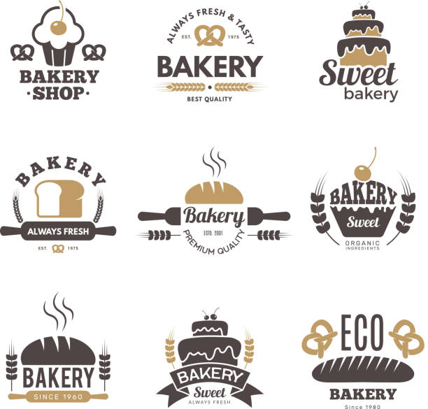 Bakery labels. Cooking symbols kitchen vector illustrations for logo design Bakery labels. Cooking symbols kitchen vector illustrations for logo design. Bakery logo emblem, premium quality badge bread backgrounds stock illustrations