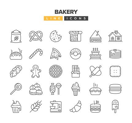Bakery Line Icon Set