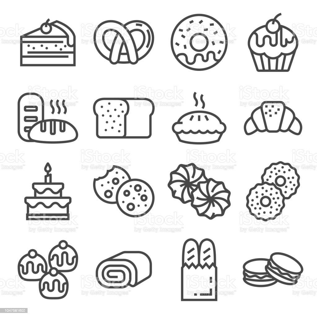 Ilustración De Iconos De La Línea De Panadería Pan Pasteles