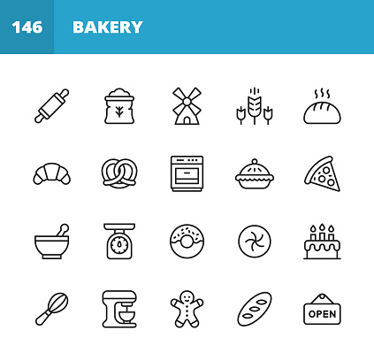 Bakery Line Icons. Editable Stroke. Pixel Perfect. For Mobile and Web. Contains such icons as Bakery, Food, Restaurant, Pizza, Cake, Bread, Hamburger, Sandwich, Pancake, Doughnut, Apple Pie, Biscuit, Dessert.