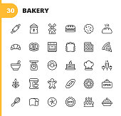 30 Bakery Outline Icons. Bakery, Food, Restaurant, Pizza, Cake, Bread, Hamburger, Sandwich, Pancake, Doughnut, Apple Pie, Biscuit, Dessert, Rolling Pin, Flour, Windmill, Gluten Free, Croissant,  Pretzel, Stove, Cooking, Baking, Bowl, Birthday Cake, Mixer, Kaiser Roll, Gingerbread.