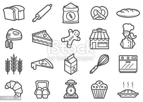 There is a set of icons about bakery and related tools in the style of Clip art.