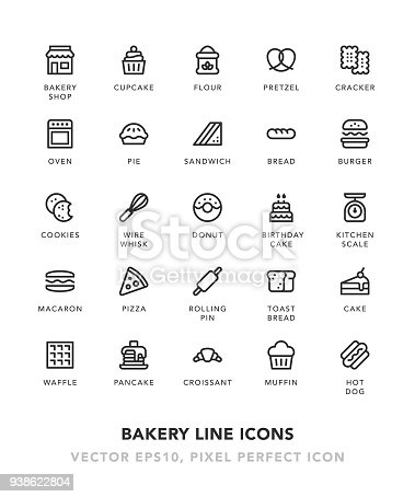 Bakery Line Icons Vector EPS 10 File, Pixel Perfect Icons.