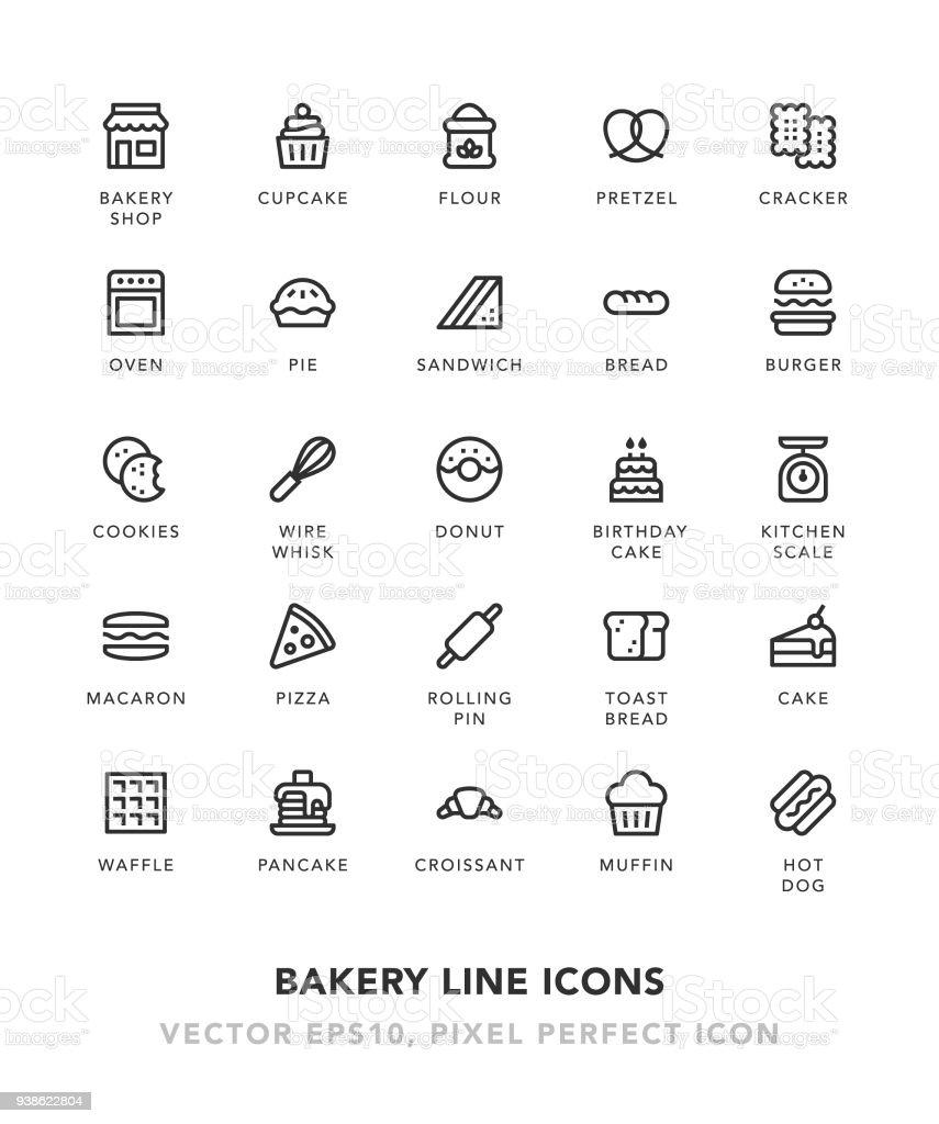 Bakery Line Icons vector art illustration