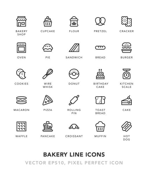 bakery line icons - cinnamon roll stock illustrations, clip art, cartoons, & icons