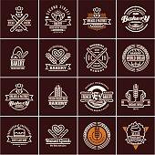 bakery labels isolated on black background, bakery logo, bakery icons set, bread, pastry