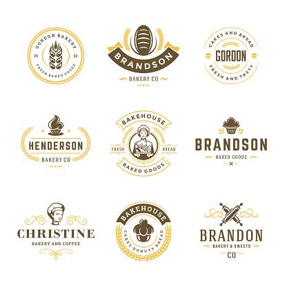 Bakery logos and badges design templates set vector illustration