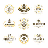 Bakery logos and badges design templates set vector illustration. Good for bakehouse and cafe emblems. Retro vintage typography elements and silhouettes.