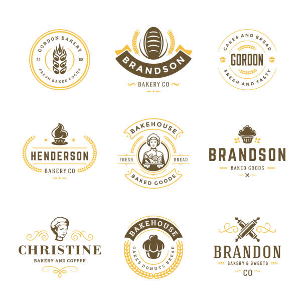 bakery logos and badges design templates set vector illustration - пекарня stock illustrations