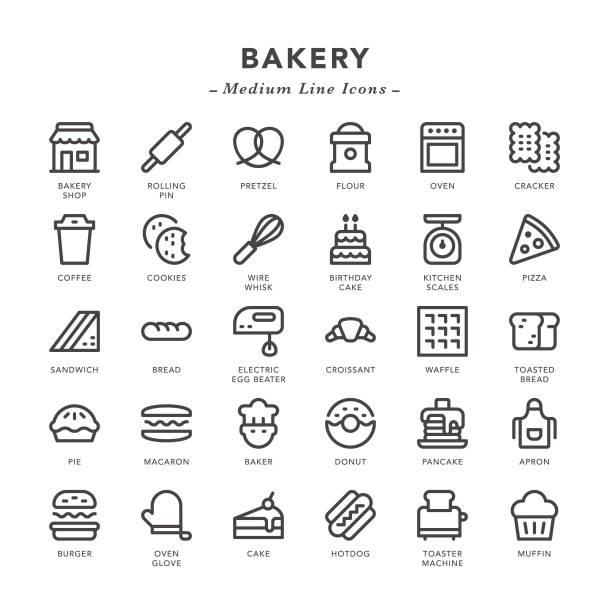stockillustraties, clipart, cartoons en iconen met bakkerij-medium line icons - ballonklopper