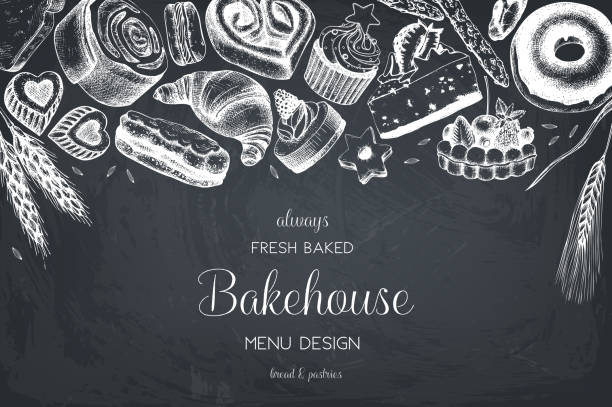 bakery menu design - bakeries stock illustrations, clip art, cartoons, & icons