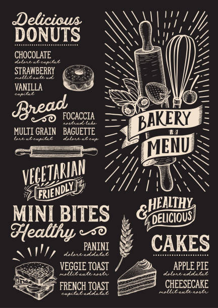 Bakery menu food template for restaurant with doodle hand-drawn graphic. Bakery menu template for restaurant on a blackboard background vector illustration brochure for food and drink cafe. Design layout with vintage lettering and doodle hand-drawn graphic. bread backgrounds stock illustrations