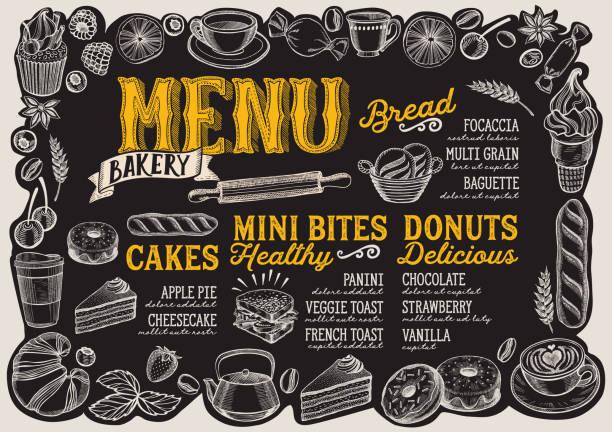 手描きの果物やお菓子のフレームとレストランのベーカリー メニュー。 - ランチョンマット点のイラスト素材/クリップアート素材/マンガ素材/アイコン素材