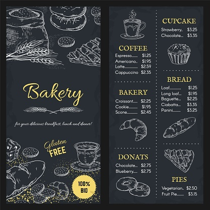 Bakery menu mockup. Hand drawn brochure of food with price. Cafe assortment, gluten free meal. Cupcake and pie, donut or bread on blackboard background. Vector template for restaurant
