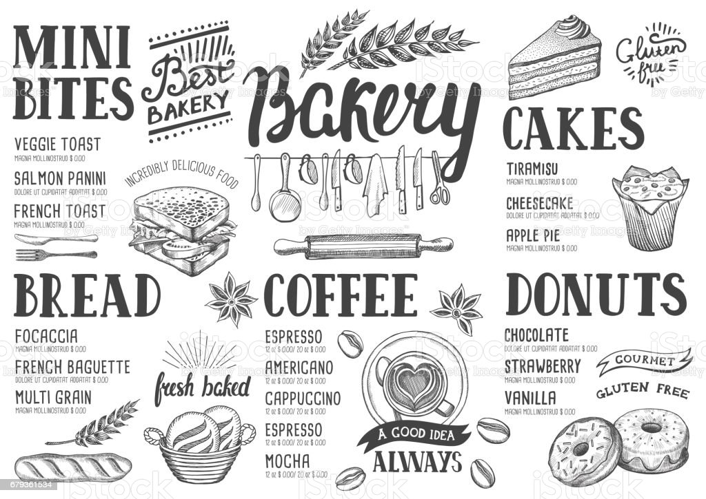 Bakery menu restaurant, food template. royalty-free bakery menu restaurant food template stock vector art & more images of backgrounds