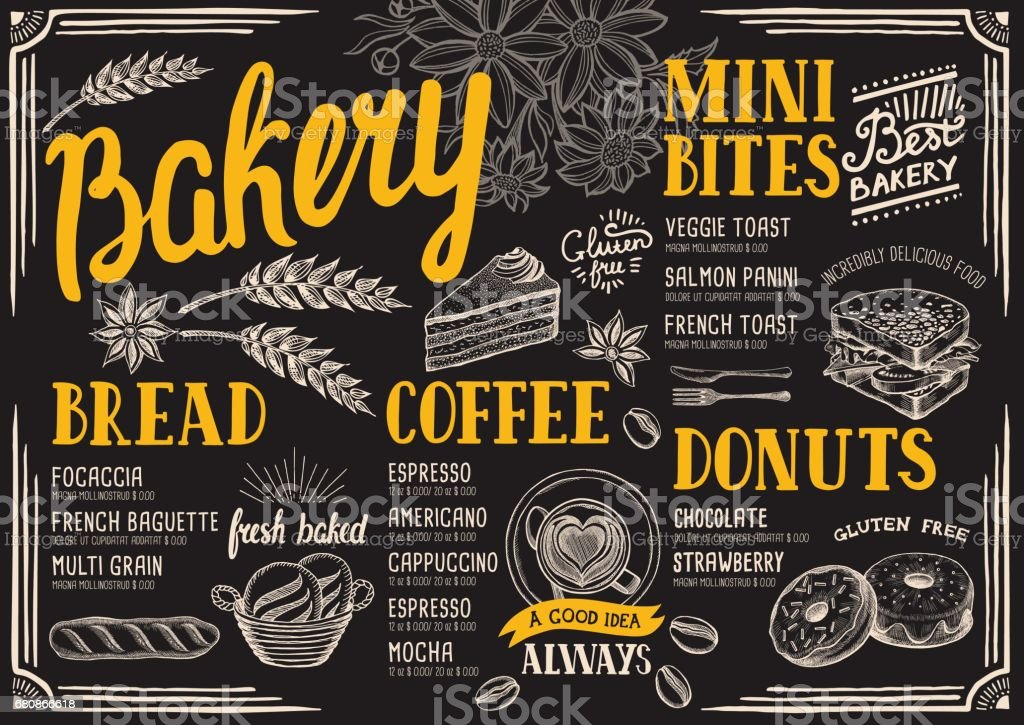 Bakery menu restaurant, food template. - ilustración de arte vectorial