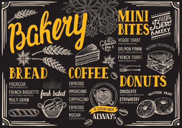 bakery menu restaurant, food template. - bakeries stock illustrations, clip art, cartoons, & icons