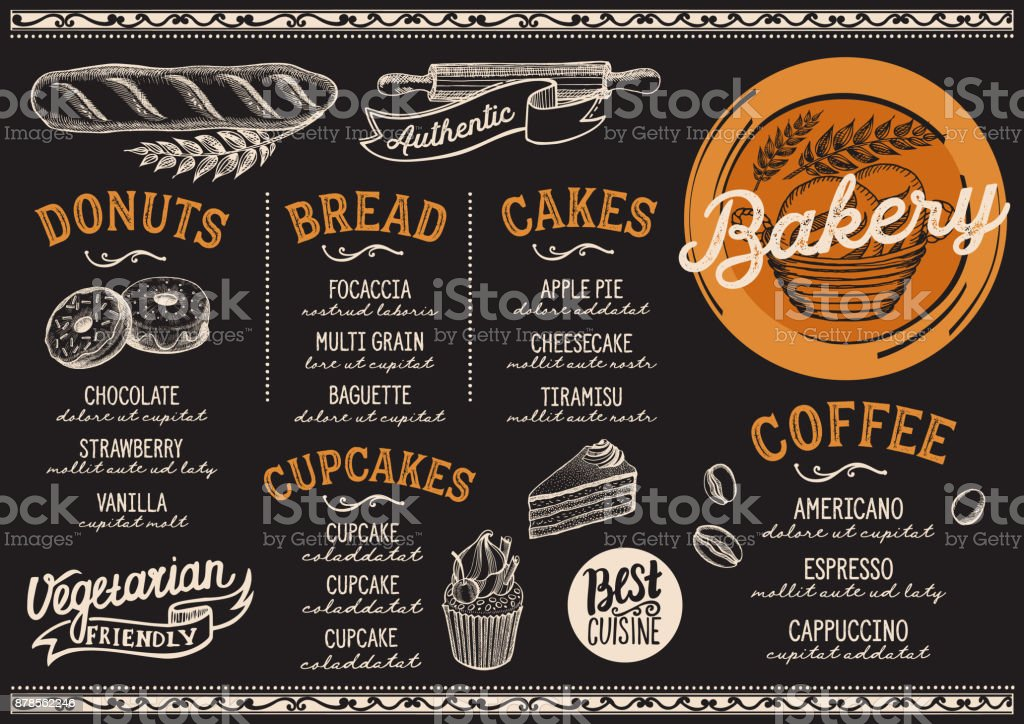 Bakery menu restaurant, food template. - illustrazione arte vettoriale