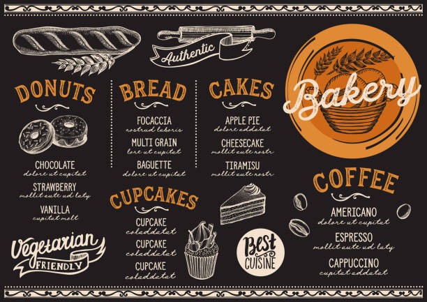 stockillustraties, clipart, cartoons en iconen met bakkerij menu restaurant, eten sjabloon. - bakery