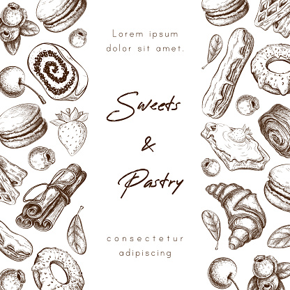 Bakery or pastry shop banner background or frame with place for text. sweet desserts hand drawn vector illustration. sketch of pastries and berries. poster, menu, package design for cafe or patisserie.