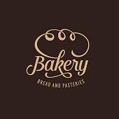 Bakery ornate logotype template calligraphy. Lettering design element emblem label badge for bake shop, bakehouse. Golden sign on a dark background for bakery advertising. Vector vintage illustration.