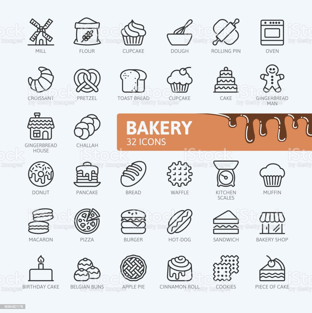 Bakery - outline icons collection royalty-free bakery outline icons collection stock illustration - download image now