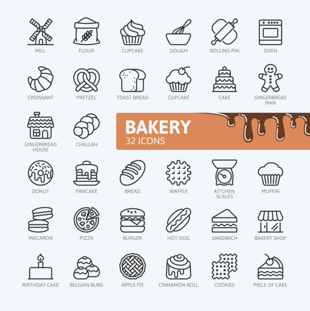 Bakery - outline icons collection Bakery shop elements - minimal thin line web icon set. Outline icons collection. Simple vector illustration. rolling pin stock illustrations