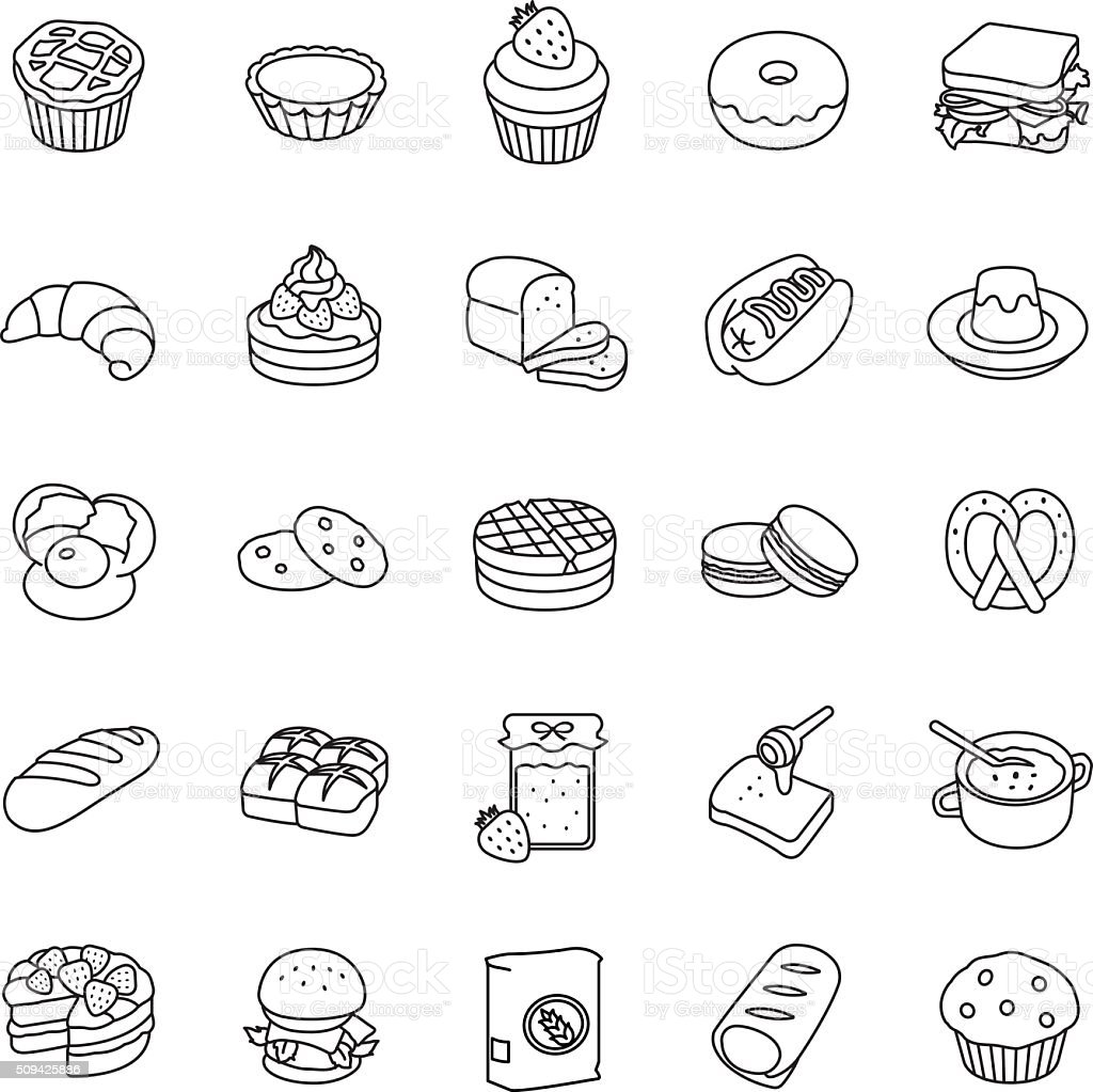 Bakery Outlines Vector Icons Stock Illustration - Download Image Now
