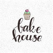 Bakery & pastries shop handwritten logo with cute cupcake. Modern food label and cooking lettering design for cafe menu, flyer, banner, poster, sticker, packaging templates. Isolated vector on white.