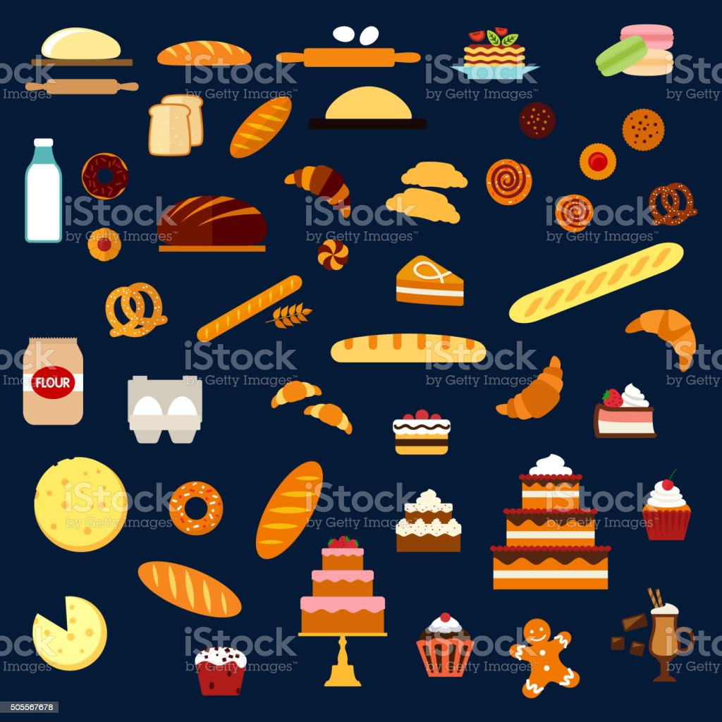 Bakery, pastry and confectionery flat icons vector art illustration