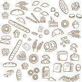 Bakery, pastry and confectionery sketched icons with various breads and loafs, croissants and pretzels, donuts and cakes, cookies and cupcakes, candies and bagels